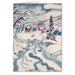 Vintage Christmas, Winter Village Snowscape Greeting Cards