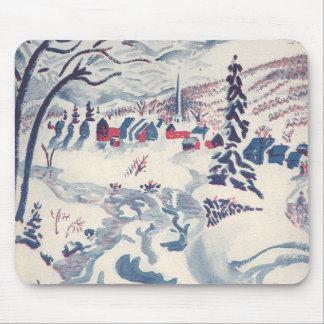 Vintage Christmas, Winter Village Snowscape Mouse Pad