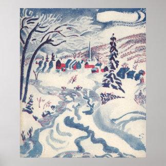 Vintage Christmas, Winter Village Snowscape Poster