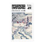 Vintage Christmas, Winter Village Snowscape Stamp