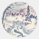 Vintage Christmas, Winter Village Snowscape Round Stickers
