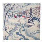 Vintage Christmas, Winter Village Snowscape Ceramic Tile