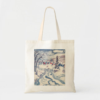 Vintage Christmas, Winter Village Snowscape Tote Bag