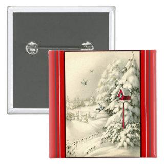 Vintage Christmas ~Winter Wonderland Red Birdhouse Button