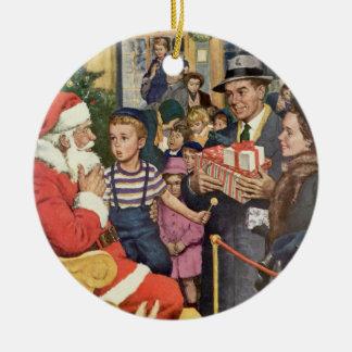 Vintage Christmas Wish, Boy on Santa Claus Lap Ceramic Ornament