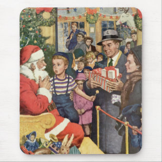Vintage Christmas Wish, Boy on Santa Claus Lap Mouse Pad