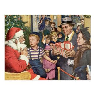 Vintage Christmas Wish, Boy on Santa Claus Lap Postcard