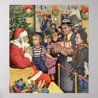 Vintage Christmas Wish, Boy on Santa Claus Lap Poster