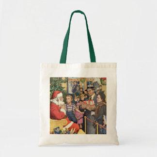 Vintage Christmas Wish, Boy on Santa's Lap Tote Bags