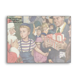 Vintage Christmas Wish, Boy on Santa's Lap Envelope