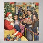 Vintage Christmas Wish, Boy on Santa's Lap Poster