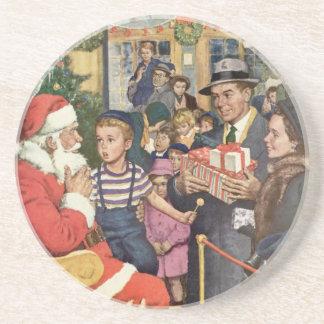 Vintage Christmas Wish, Boy on Santa's Lap Sandstone Coaster