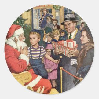 Vintage Christmas Wish, Boy on Santa's Lap Round Sticker