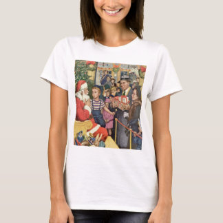 Vintage Christmas Wish, Boy on Santa's Lap T-Shirt