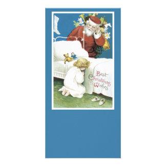 Vintage Christmas Wishes Customized Photo Card