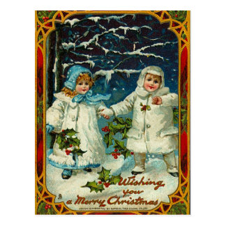 Vintage Christmas Wishes Postcard