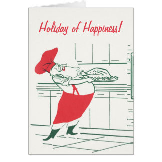 Vintage Christmas with a Santa Claus Chef Card