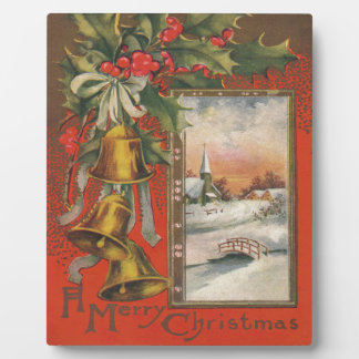 Vintage Christmas with Bells, Holly, Village Plaque