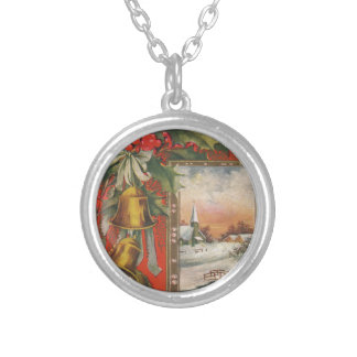 Vintage Christmas with Bells Round Pendant Necklace