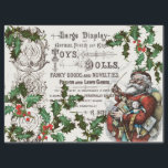 """VINTAGE CHRISTMAS WITH OLD TIME SANTA AND HOLLY TISSUE PAPER<br><div class=""""desc"""">Old Christmas typography toy advertisment with vintage image of famous Thomas Nast Santa Claus and antique holly botanical border. A vertical page version is also available along with a large decopage wrapping paper version. This and other vintage and antique Christmas designs can be found in the SalvageScapes store collection: CHRISTMAS...</div>"""
