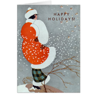Vintage Christmas Woman in Red Coat with Birds Card