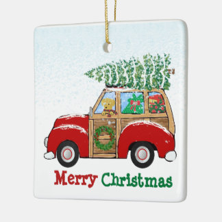 Vintage Christmas Woody Wagon Bringing Home Tree Ceramic Ornament
