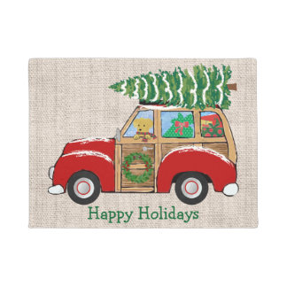 Station Wagon With Christmas Tree Gifts On Zazzle