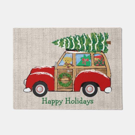 Vintage Christmas Woody Wagon Bringing Home Tree Doormat