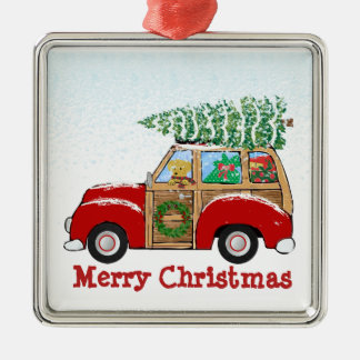 Vintage Christmas Woody Wagon Bringing Home Tree Metal Ornament