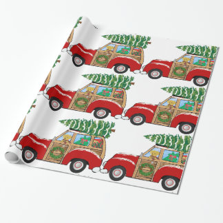 Vintage Christmas Woody Wagon Bringing Home Tree Wrapping Paper