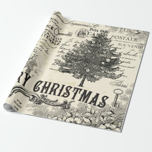 Vintage Christmas Wrapping Paper - French Vintage