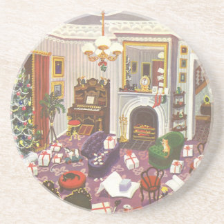 Vintage Christmas, Wrapping Presents Beverage Coaster