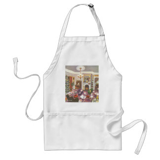 Vintage Christmas Wrapping Presents in Living Room Adult Apron