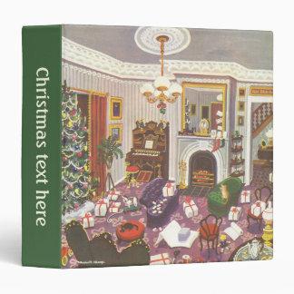 Vintage Christmas Wrapping Presents in Living Room Vinyl Binders