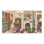 Vintage Christmas Wrapping Presents in Living Room Business Card