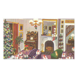 Vintage Christmas Wrapping Presents in Living Room Double-Sided Standard Business Cards (Pack Of 100)