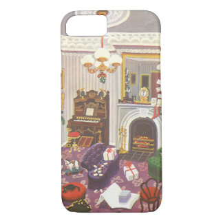 Vintage Christmas Wrapping Presents in Living Room iPhone 8/7 Case