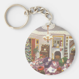 Vintage Christmas Wrapping Presents in Living Room Basic Round Button Keychain