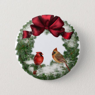 Vintage Christmas Wreath Button