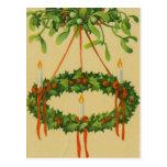 Vintage Christmas Wreath Chandelier Postcard
