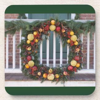 Vintage Christmas Wreath Cork Coaster