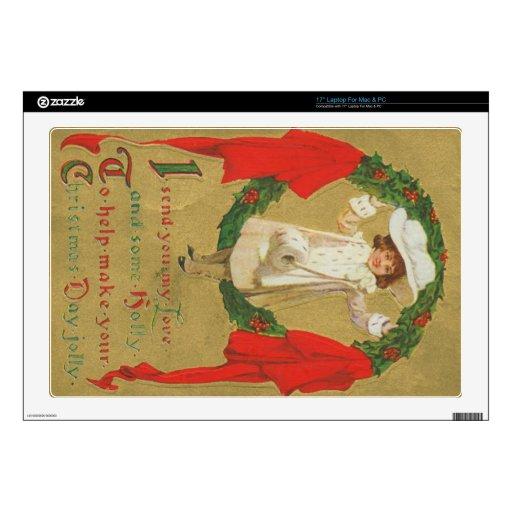 "Vintage Christmas Wreath Girl 17"" Laptop Decals"
