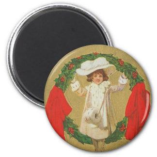 Vintage Christmas Wreath Girl Magnet