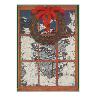 Vintage Christmas Wreath in a Snowy Window Posters
