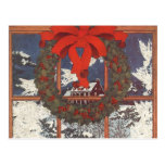 Vintage Christmas Wreath in a Window Postcards