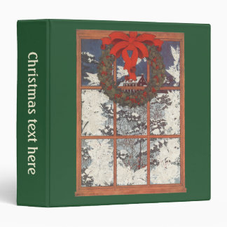Vintage Christmas Wreath in a Window with Snow Binder