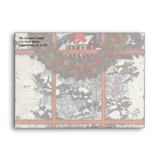 Vintage Christmas Wreath in a Window with Snow Envelope