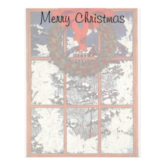 Vintage Christmas Wreath in a Window with Snow Letterhead