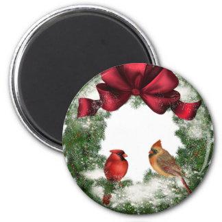 Vintage Christmas Wreath Magnet
