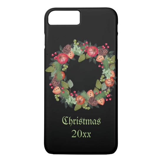 Vintage Christmas Wreath on Black Background iPhone 7 Plus Case